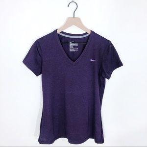 Nike Women's Purple V-neck Dri Fit Tee